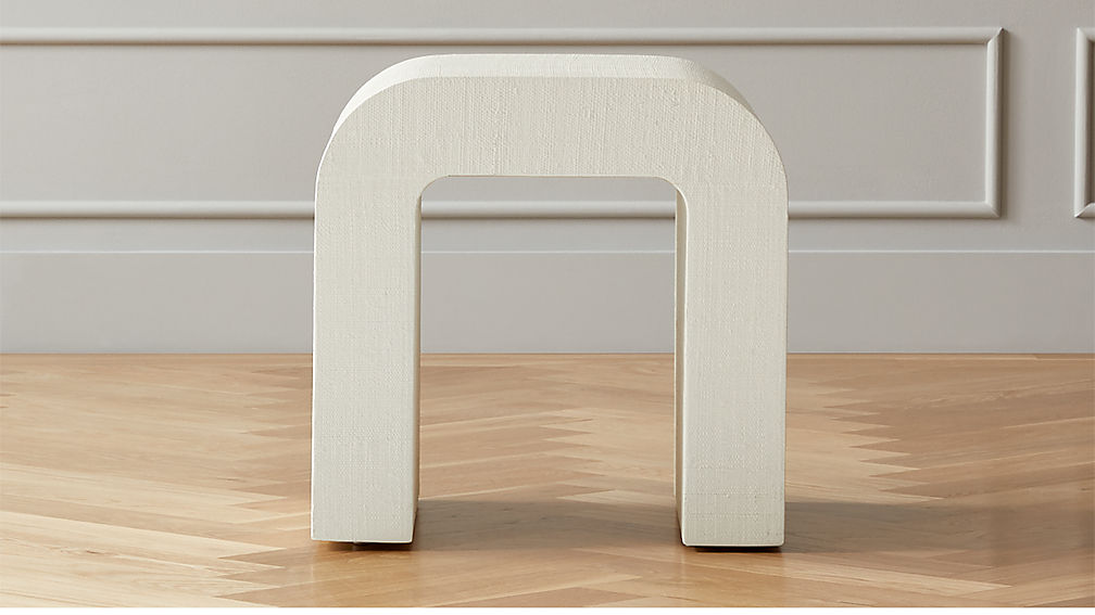 Horseshoe Ivory Lacquered Linen Side Table - Image 1 of 6