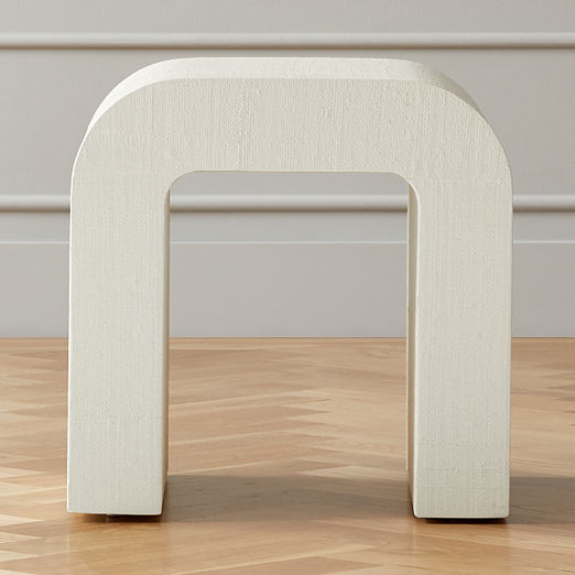 Horseshoe White Lacquered Linen Side Table