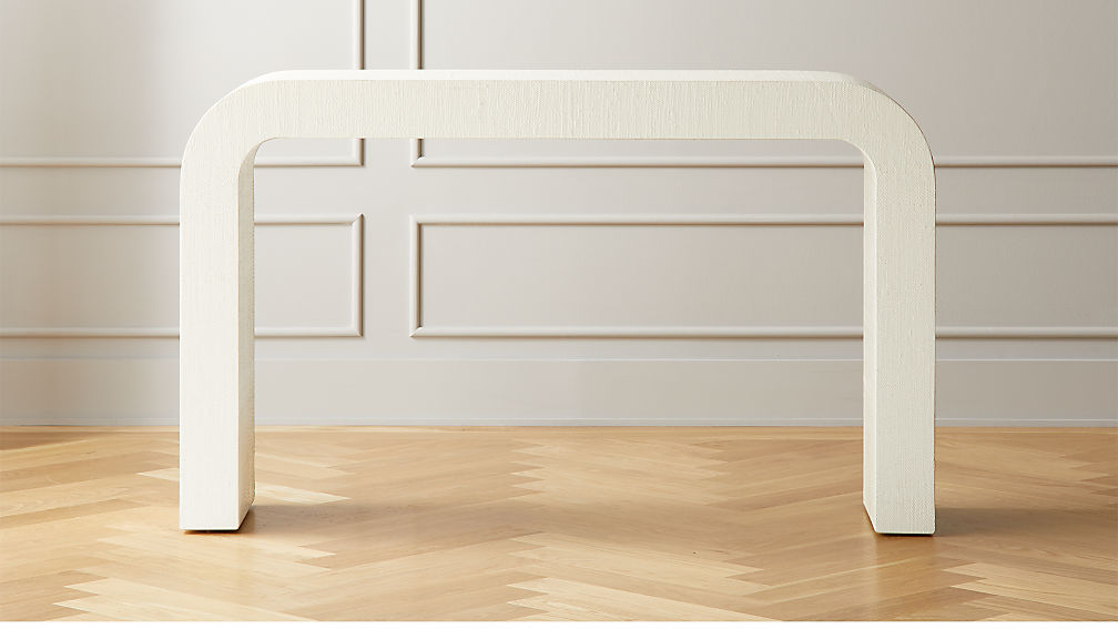 Horseshoe Ivory Lacquered Linen Console Table - Image 1 of 6