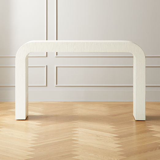 Horseshoe Ivory Lacquered Linen Console Table