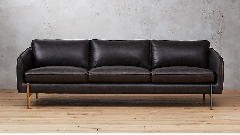 Hoxton Black Leather Sofa + Reviews | CB2