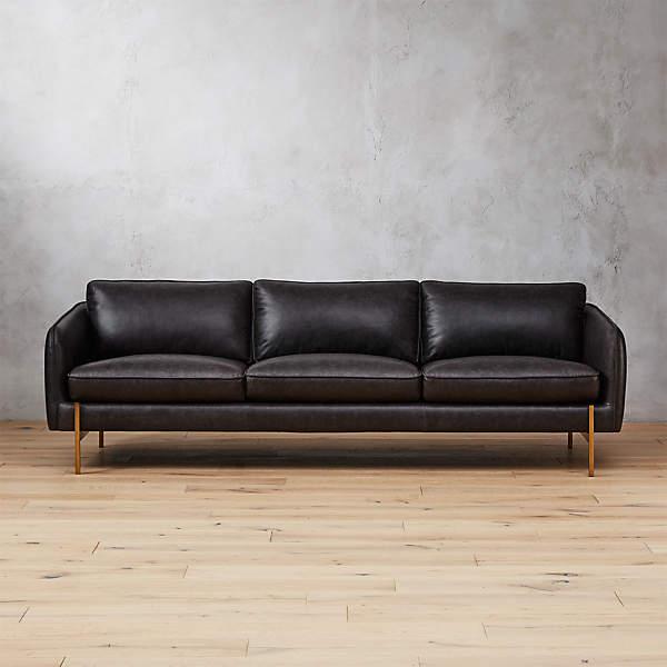 Hoxton Black Leather Sofa Cb2, Black Leather Sofa