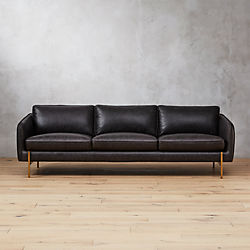 Hoxton Black Leather Sofa