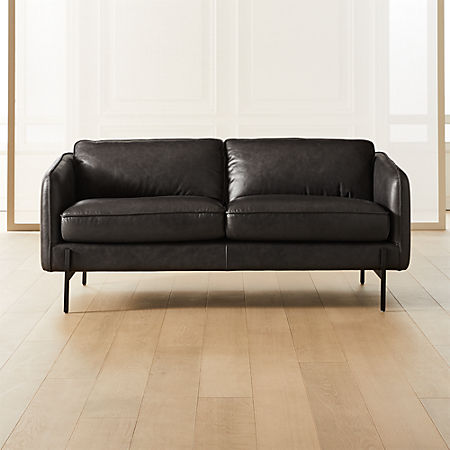 Hoxton Black Leather Loveseat With