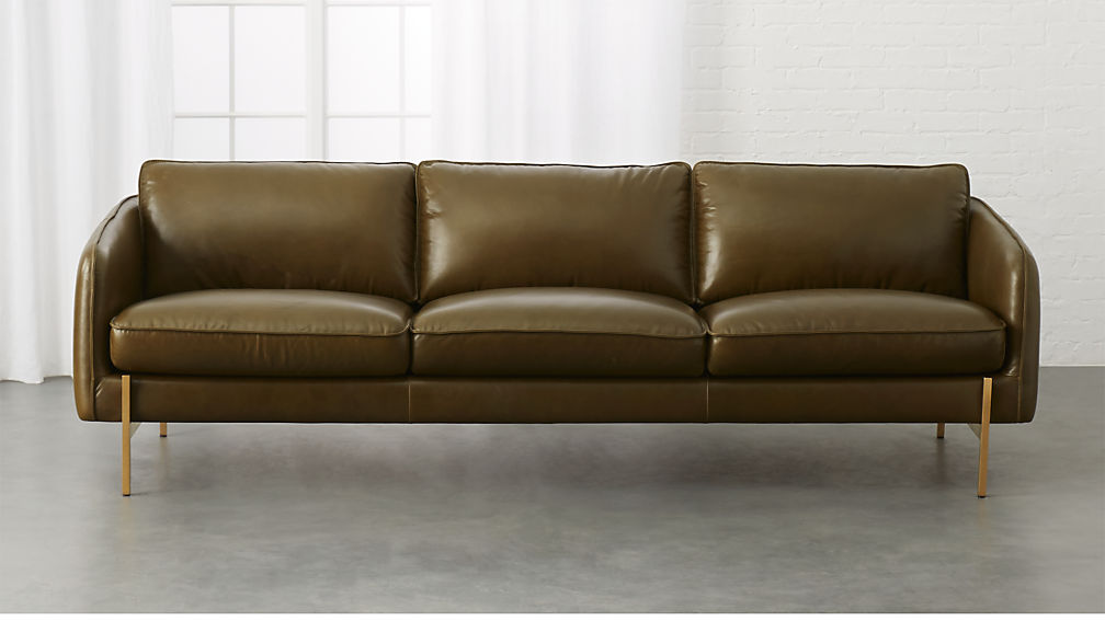 Hoxton Olive Green Leather Sofa Reviews Cb2