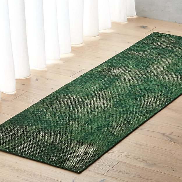 Disintegrated Green Floral Runner 2.5'x8' - Image 1 of 3