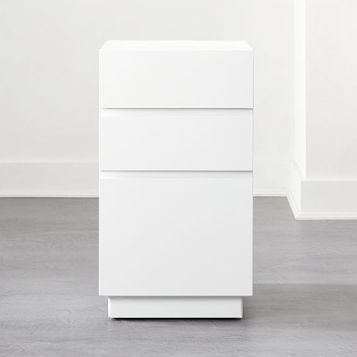 Hudson 3-Drawer White File Cabinet