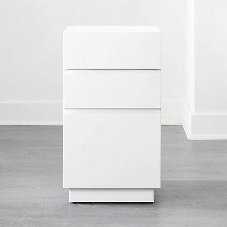 Hudson 3 Drawer White File Cabinet