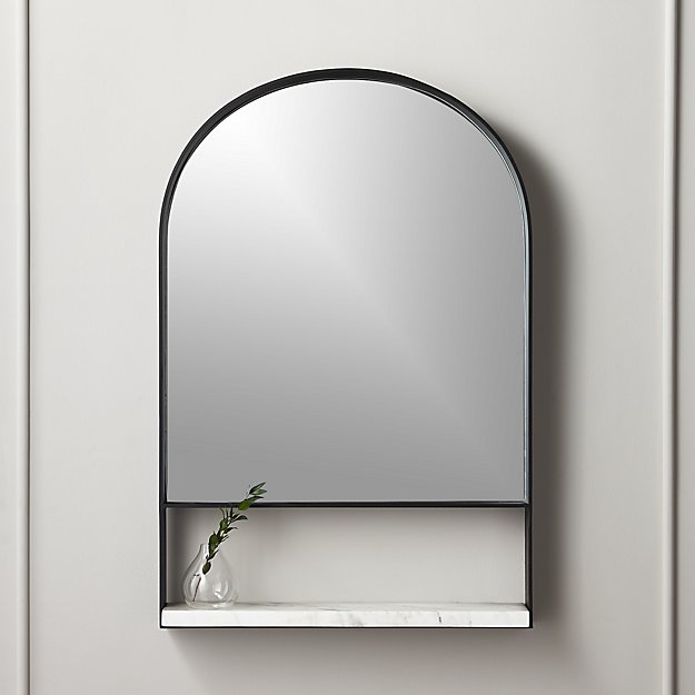 Hugh Mirror with Marble Shelf - Image 1 of 5