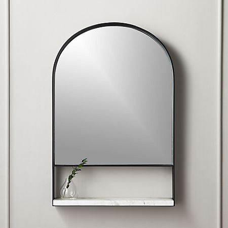 Hugh Mirror With Marble Shelf Reviews Cb2