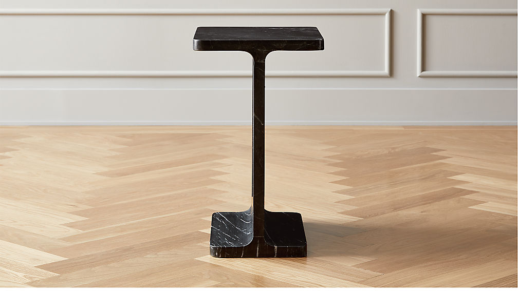 I Beam Black Marble Side Table - Image 1 of 12