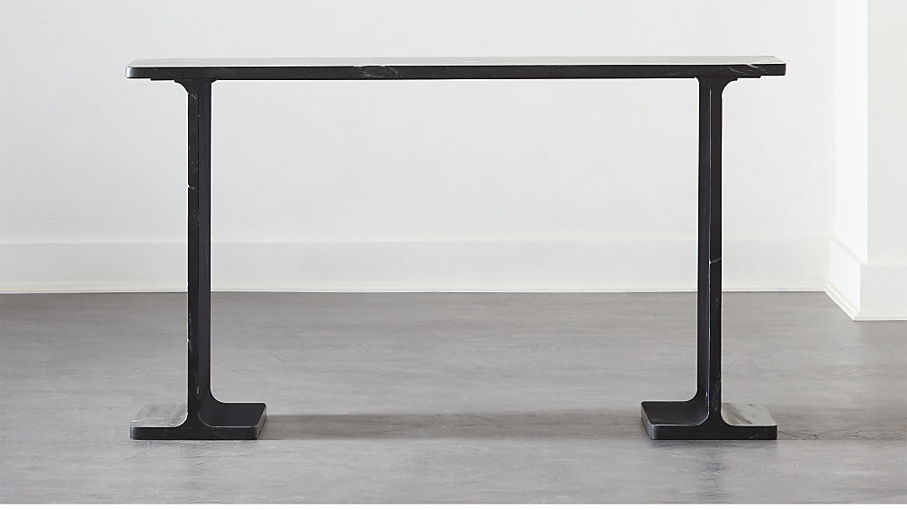 I Beam Black Marble Console Table - Image 1 of 6