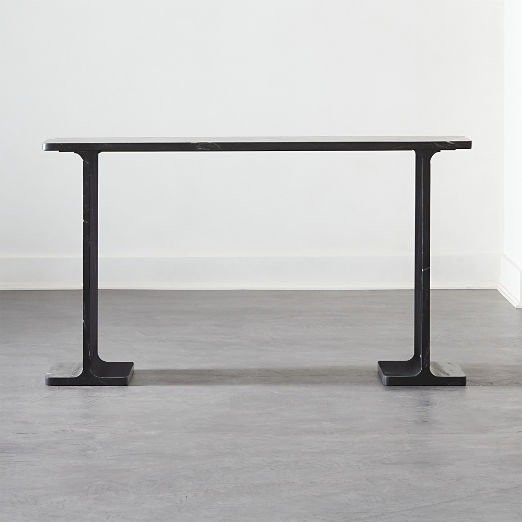 I Beam Black Marble Console Table