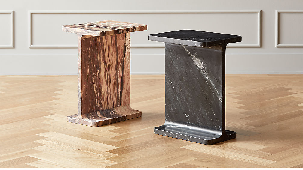 I Beam Marble Side Tables - Image 1 of 12