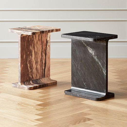 I Beam Marble Side Tables