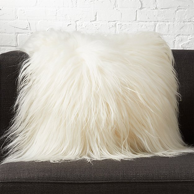 pillow sale pink with candy sided long sheepskin fur single mongolian decorative throw