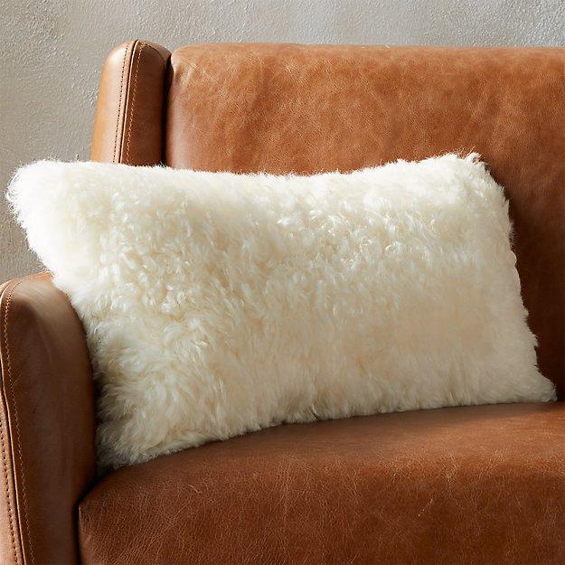"23""x11"" Icelandic Shorn Sheepskin Pillow - Image 1 of 12"