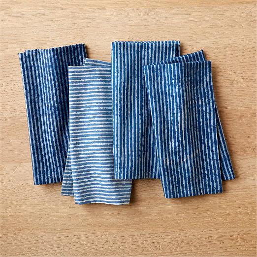 Set of 4 Indigo Stripe Napkins