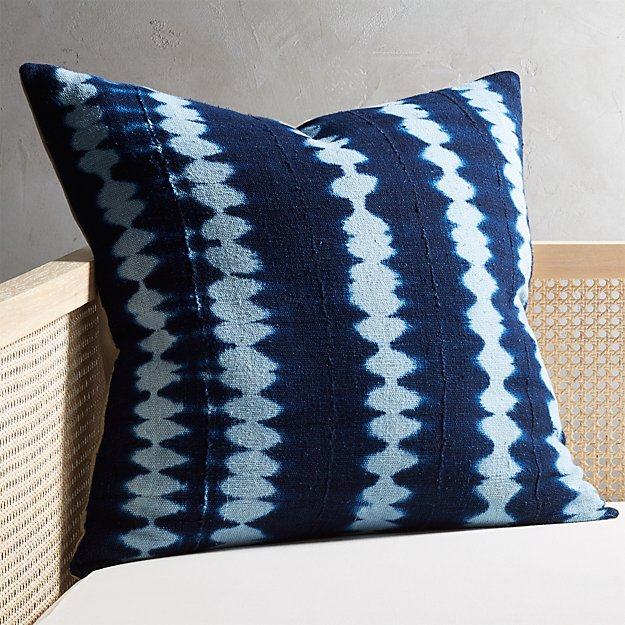 "23"" Indigo Stripes Mudcloth Pillow with Down-Alternative Insert - Image 1 of 6"