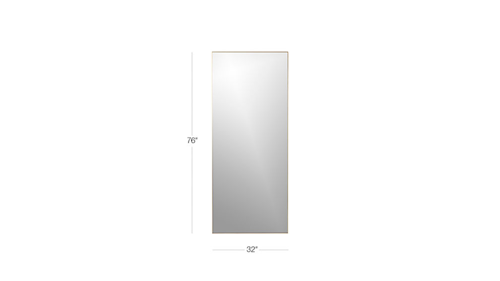 "Image with dimension for infinity brass 32""x76"" floor mirror"