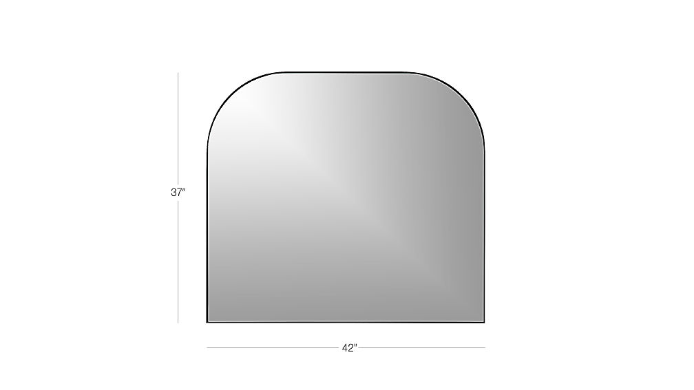 Image with dimension for Infinity Black Mantel Mirror