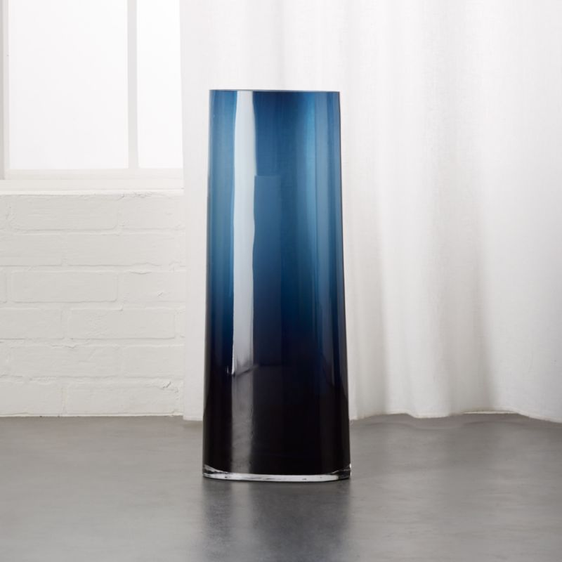 Ionia Tall Blue Glass Vase Reviews Cb2