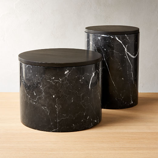 Ishi Black Marble Canisters