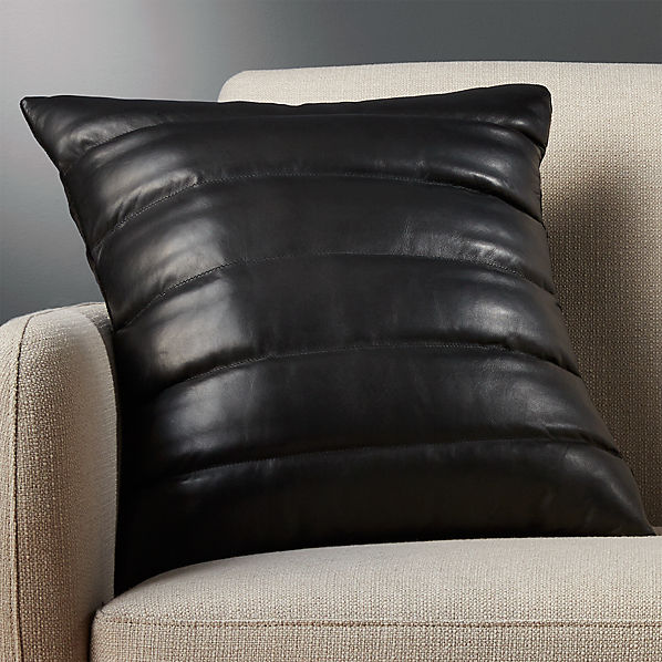 18 Black Leather Throw Pillow With Feather Down I Reviews Cb2