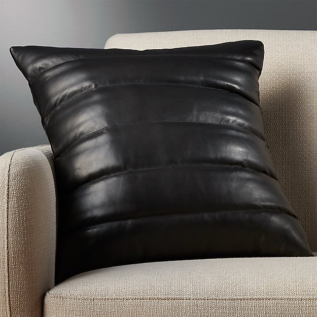"18"" Izzy Black Leather Pillow - Image 1 of 12"