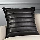 "23"" Izzy Black Leather Pillow"