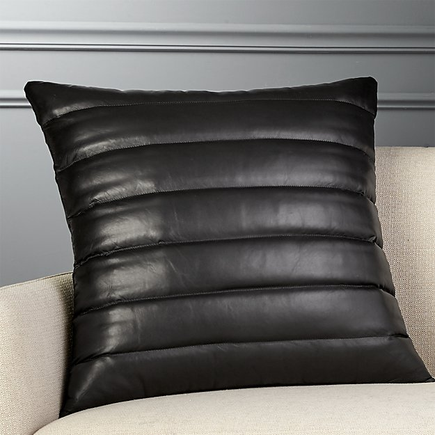 "23"" Izzy Black Leather Pillow - Image 1 of 6"