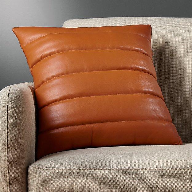 "18"" Izzy Saddle Leather Pillow - Image 1 of 12"