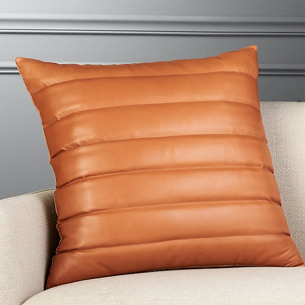 "23"" Izzy Saddle Brown Leather Pillow - Image 1 of 6"