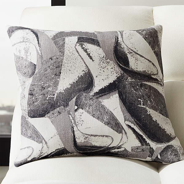 23 Abstract Linen Marble Pillow Cb2