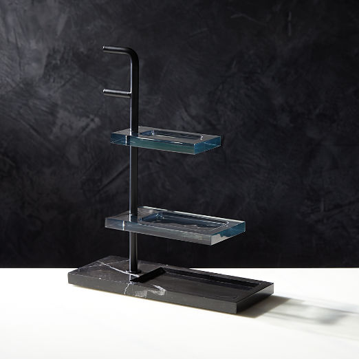 Black Marble Get Organized Small Tabletop Storage