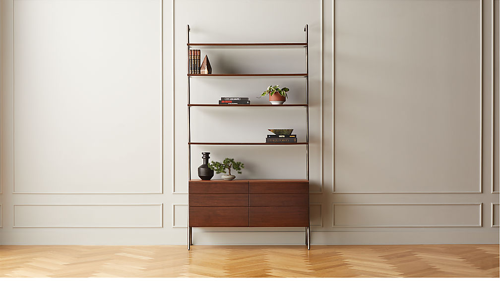 Jaxon Wood and Leather Bookcase - Image 1 of 10