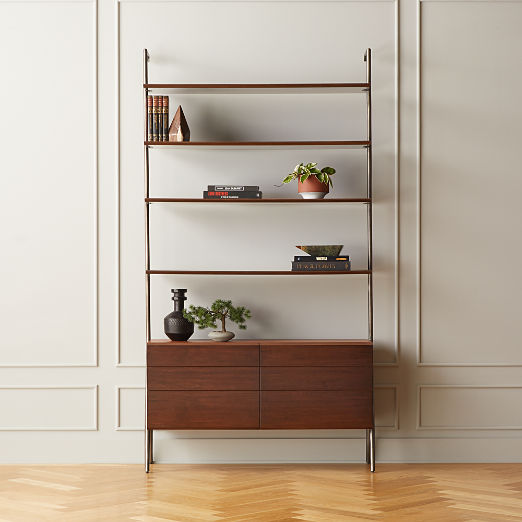 Jaxon Wood and Leather Bookcase