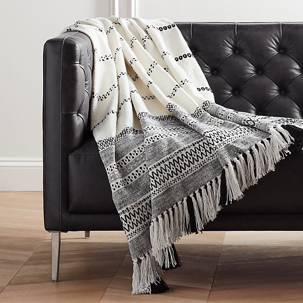 Jema Black and White Throw with Tassels - Image 1 of 6