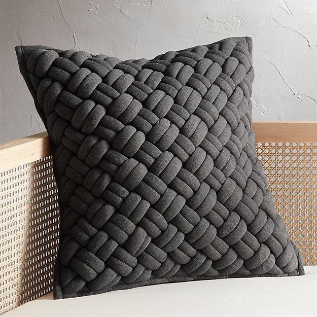 "20"" Jersey Dark Grey Interknit Pillow - Image 1 of 7"