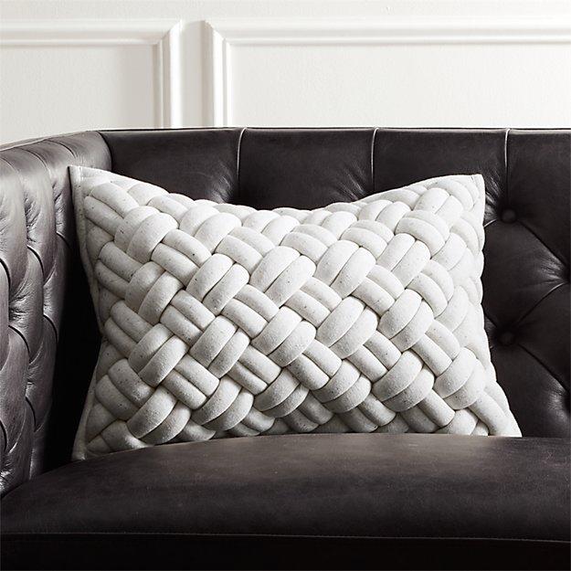 "18""x12"" Jersey Ivory Interknit Pillow - Image 1 of 6"