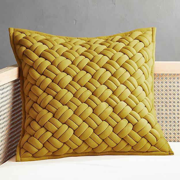 "20"" Jersey Interknit Mustard Pillow - Image 1 of 6"