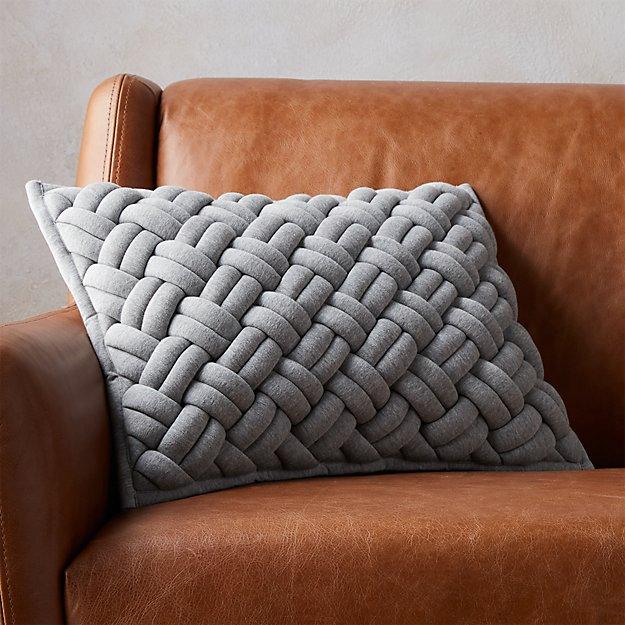 "18""x12"" Jersey Interknit Grey Pillow - Image 1 of 7"