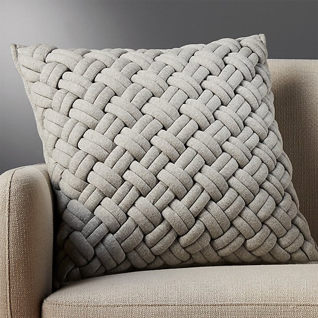 "20"" Jersey Interknit Grey Pillow - Image 1 of 12"
