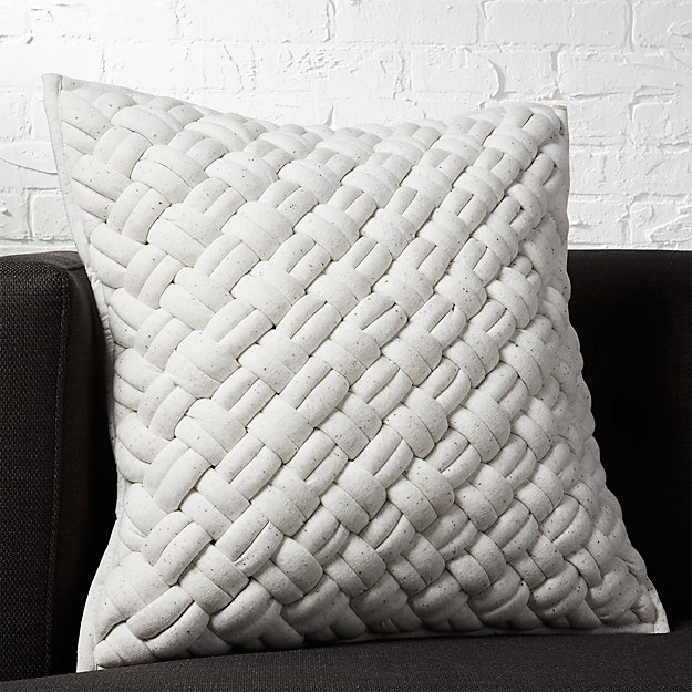 "20"" Jersey Interknit Ivory Pillow - Image 1 of 5"