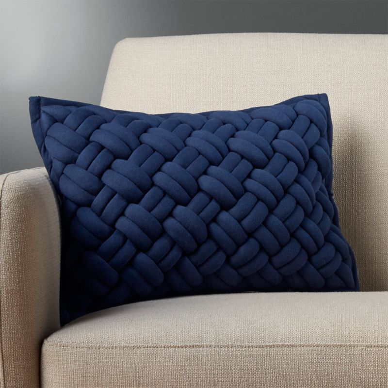 18 X12 Jersey Interknit Navy Pillow With Down Alternative Insert