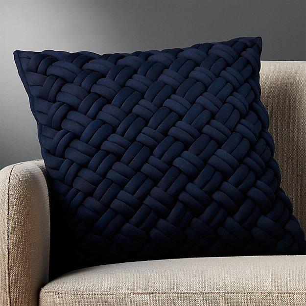 "20"" Jersey Interknit Navy Pillow - Image 1 of 6"