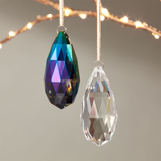 Jewel Teal Glass Drop Ornament