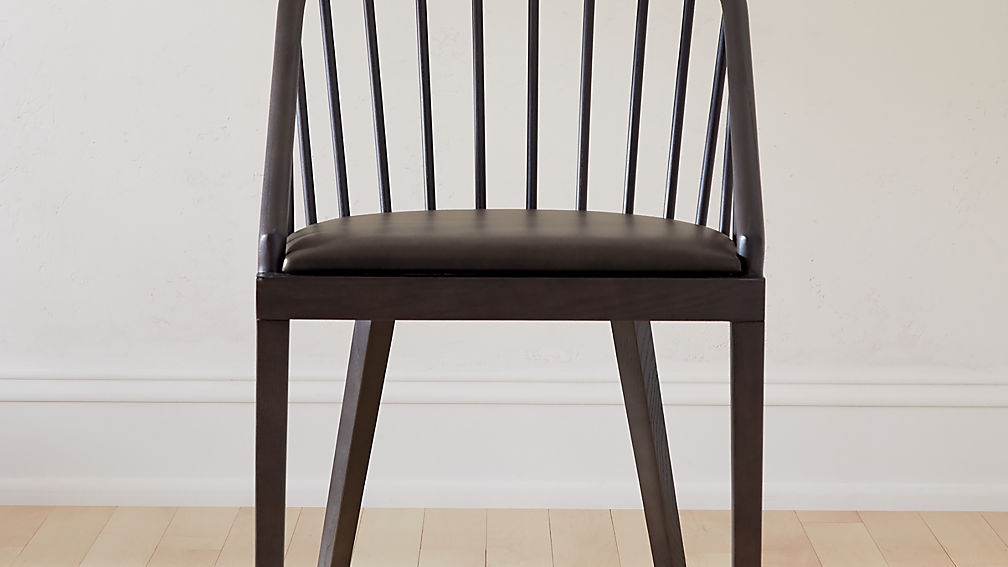 Comb Blackened Wood Dining Chair - Image 1 of 7