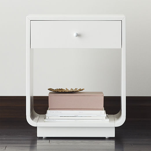 Bowed White Lacquered Nightstand