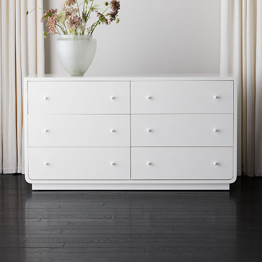 Bowed White Lacquered Low Dresser
